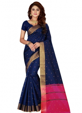 Cotton Silk Navy Blue and Rose Pink Thread Work Designer Contemporary Style Saree