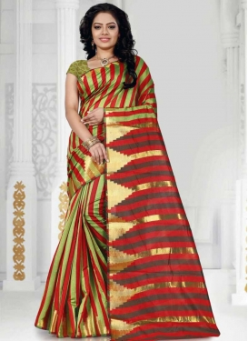 Cotton Silk Olive and Red Traditional Saree For Casual