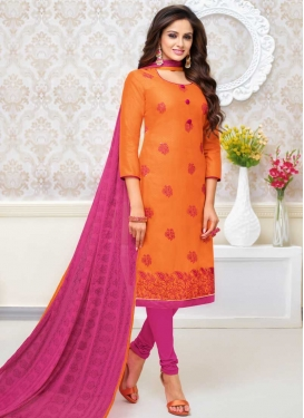 Cotton Silk Orange and Rose Pink Embroidered Work Trendy Churidar Salwar Kameez