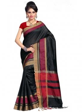 Cotton Silk Print Work Black and Crimson Trendy Classic Saree