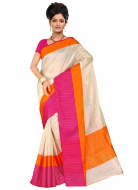 Cotton Silk Print Work Contemporary Saree
