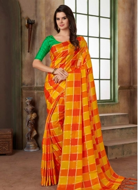 Cotton Silk Print Work Traditional Saree