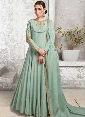 Cotton Silk Readymade Floor Length Gown For Festival