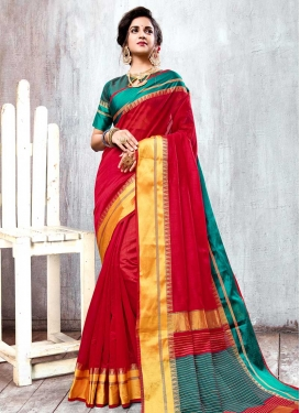 Cotton Silk Red and Teal Thread Work Trendy Classic Saree