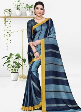 Cotton Silk Strips Print Work Light Blue and Navy Blue Traditional Saree