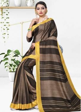 Cotton Silk Strips Print Work Trendy Classic Saree
