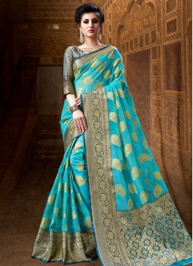 Cotton Silk Teal and Turquoise Thread Work Contemporary Style Saree