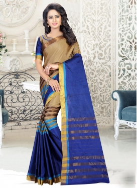 Cotton Silk Thread Work Beige and Blue Trendy Saree