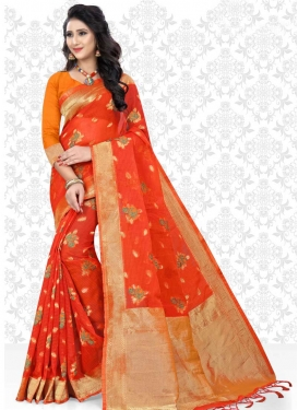 Cotton Silk Thread Work Orange and Tomato Trendy Classic Saree