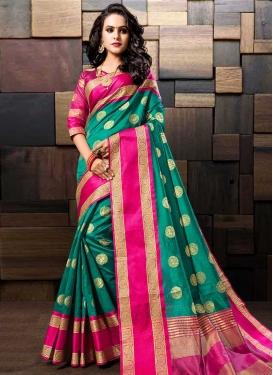 Cotton Silk Thread Work Trendy Saree