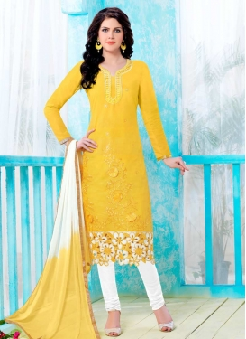 Cotton White and Yellow Trendy Churidar Salwar Kameez