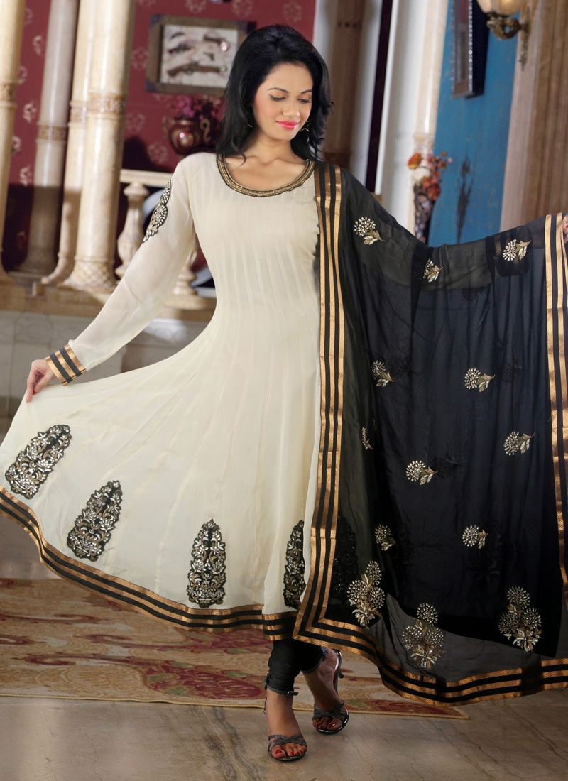 Cream And Black Color Readymade Anarkali Suit