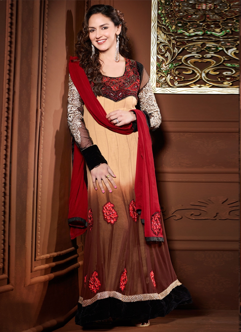 Cream And Brown Esha Deol Bollywood Salwar Kameez