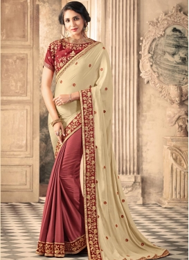 Cream and Crimson Art Silk Half N Half Trendy Saree