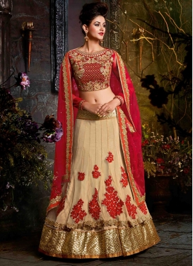 Cream and Crimson Booti Work Layered Designer Lehenga Choli
