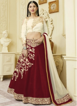 Cream and Crimson Gauhar Khan Designer Classic Lehenga Choli