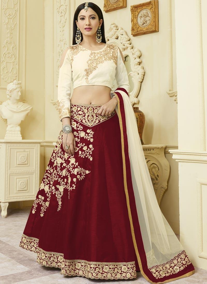 Cream and Crimson Gauhar Khan Designer Classic Lehenga Choli