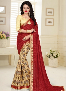 Cream and Crimson Half N Half Trendy Saree