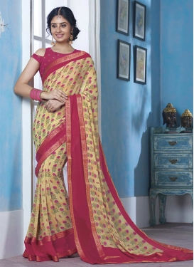 Cream and Fuchsia Contemporary Style Saree