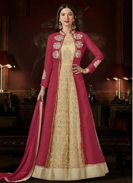 Cream and Fuchsia Gauhar Khan Jacket Style Anarkali Suit