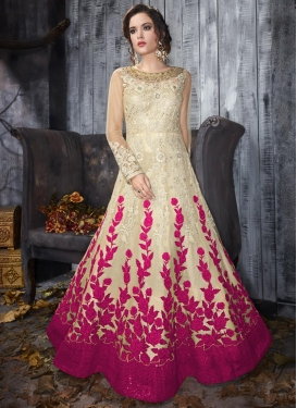 Cream and Fuchsia Net Anarkali Salwar Kameez