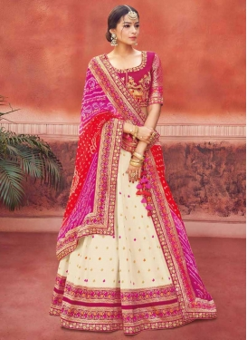 Cream and Fuchsia Trendy Lehenga For Festival