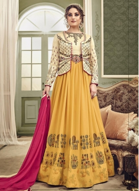 Cream and Gold Jacket Style Anarkali Suit For Festival