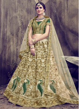 Cream and Green Net Designer A Line Lehenga Choli