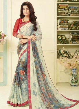 Cream and Grey Art Silk Trendy Classic Saree