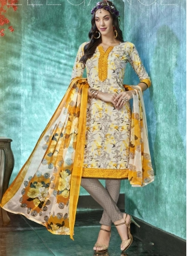 Cream and Grey Churidar Salwar Kameez For Casual