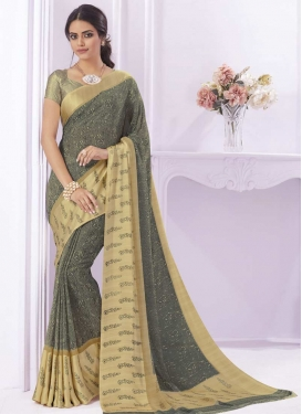 Cream and Grey Contemporary Saree