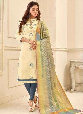 Cream and Grey Cotton Straight Salwar Kameez