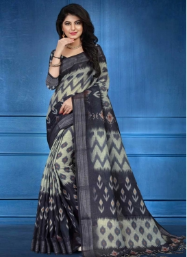 Cream and Grey Designer Contemporary Style Saree