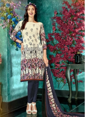 Cream and Grey Digital Print Work Trendy Churidar Salwar Suit