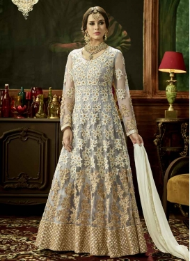 Cream and Grey Embroidered Work Net Long Length Anarkali Suit