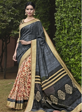 Cream and Grey Lace Work Half N Half Saree