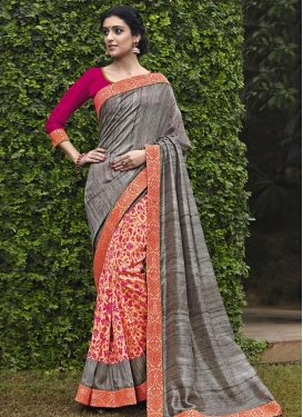 Cream and Grey Lace Work Half N Half Trendy Saree