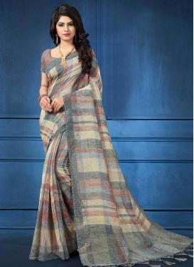 Cream and Grey Linen Designer Contemporary Style Saree For Ceremonial