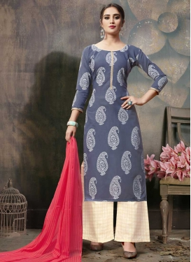 Cream and Grey Palazzo Style Pakistani Salwar Suit