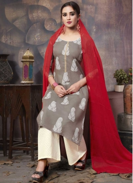 Cream and Grey Print Work Palazzo Style Pakistani Salwar Suit