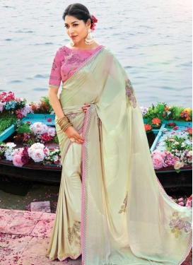 Cream and Hot Pink Art Silk Designer Contemporary Saree