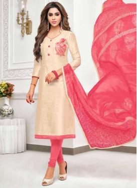 Cream and Hot Pink Embroidered Work Churidar Salwar Kameez