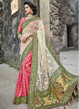 Cream and Hot Pink Embroidered Work  Half N Half Trendy Saree