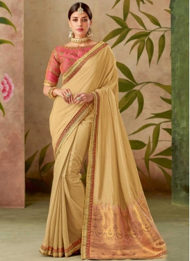 Cream and Hot Pink Embroidered Work Traditional Designer Saree