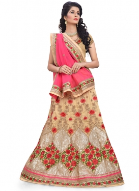 Cream and Hot Pink Silk Trendy A Line Lehenga Choli