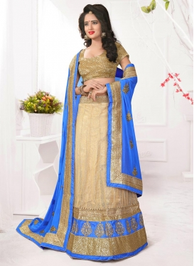 Cream and Light Blue A Line Lehenga Choli For Ceremonial