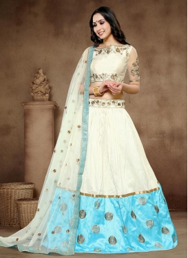 Cream and Light Blue Art Silk Designer A Line Lehenga Choli