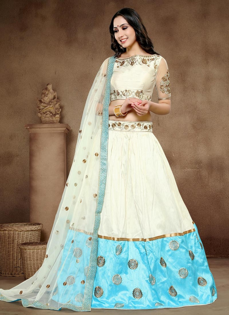 dce64fd0c4 Shop Cream and Light Blue Art Silk Designer A Line Lehenga Choli Online