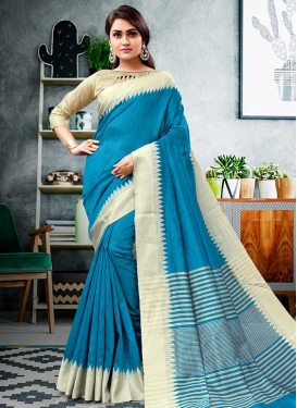 Cream and Light Blue Thread Work Cotton Silk Traditional Saree