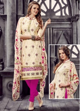Cream and Magenta Straight Salwar Kameez